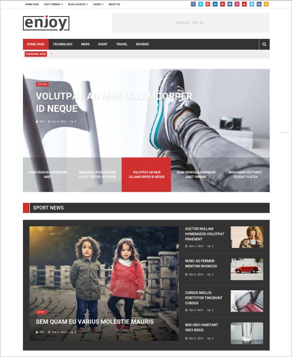 enjoy worpress magazine blog theme