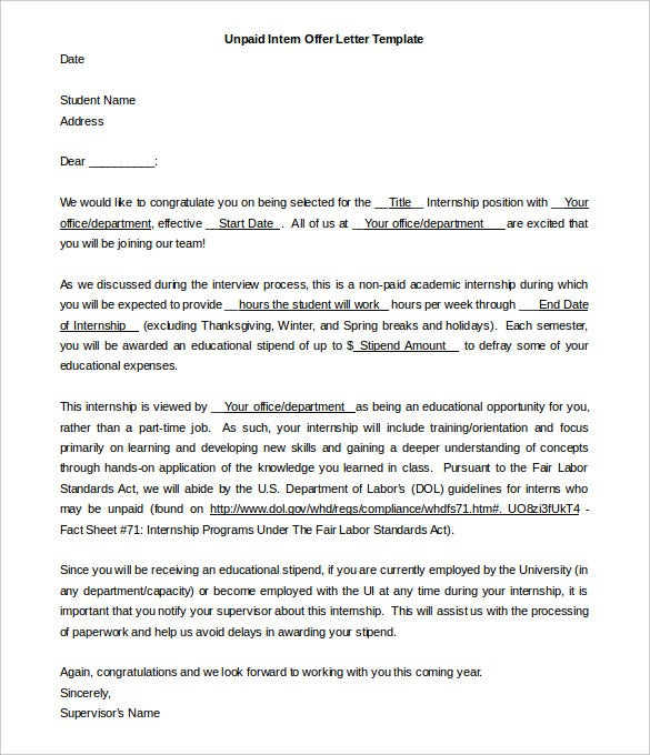 Offer Letter Template for Unpaid Intern Word Download
