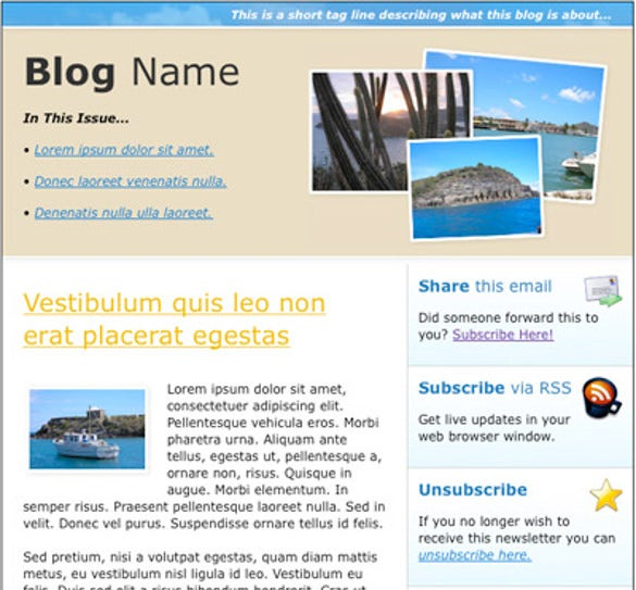 Html Newsletter Templates  Free Sample Example Format
