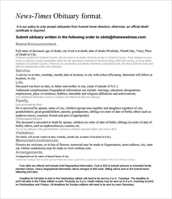 Newspaper Obituary Templates  Free Sample Example Format
