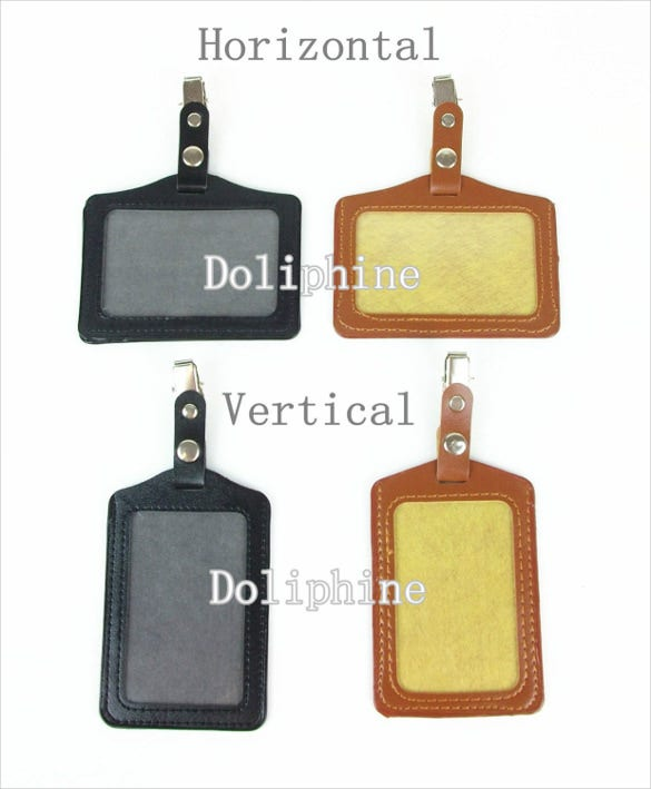name tag pu leather id badge template