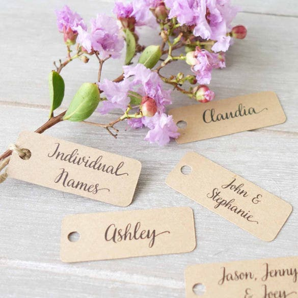 wedding personalised name tags template
