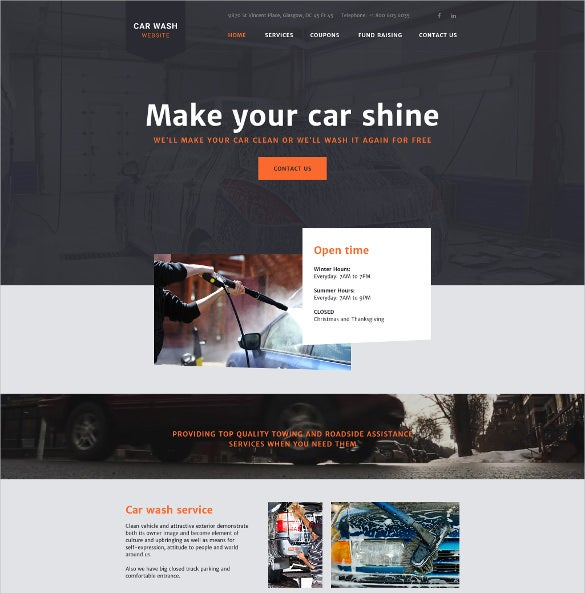 carwash website html5 template