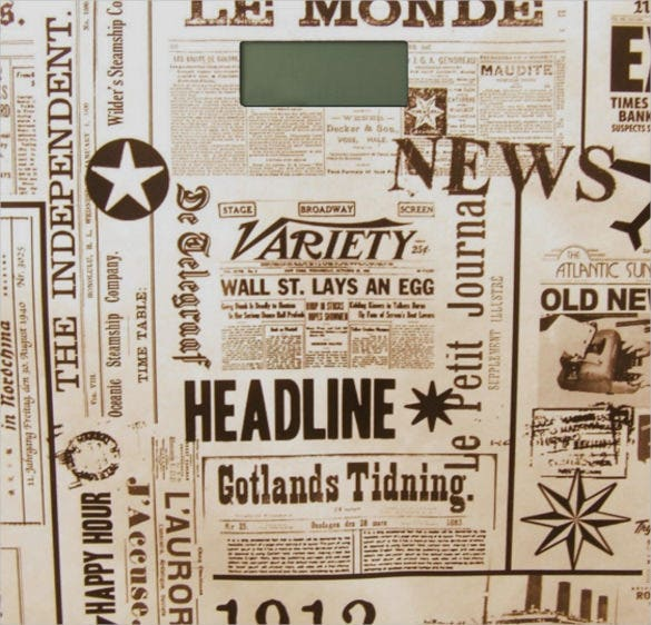 vintage format newspaper headline template download