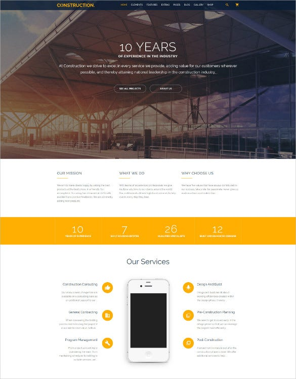 construction multipurpose website html5 template