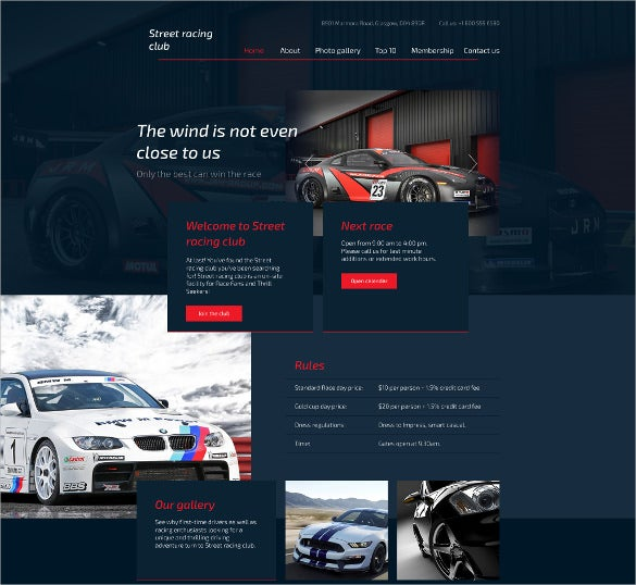 car club responsive website html5 template