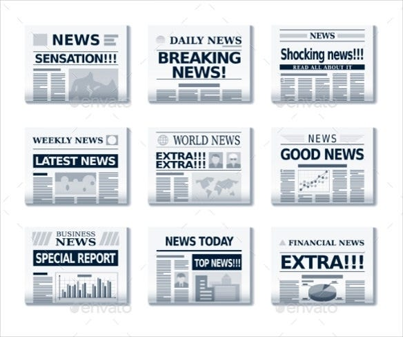 vector eps format newspaper headline template