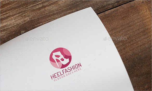 fashion logo of heels on wood background