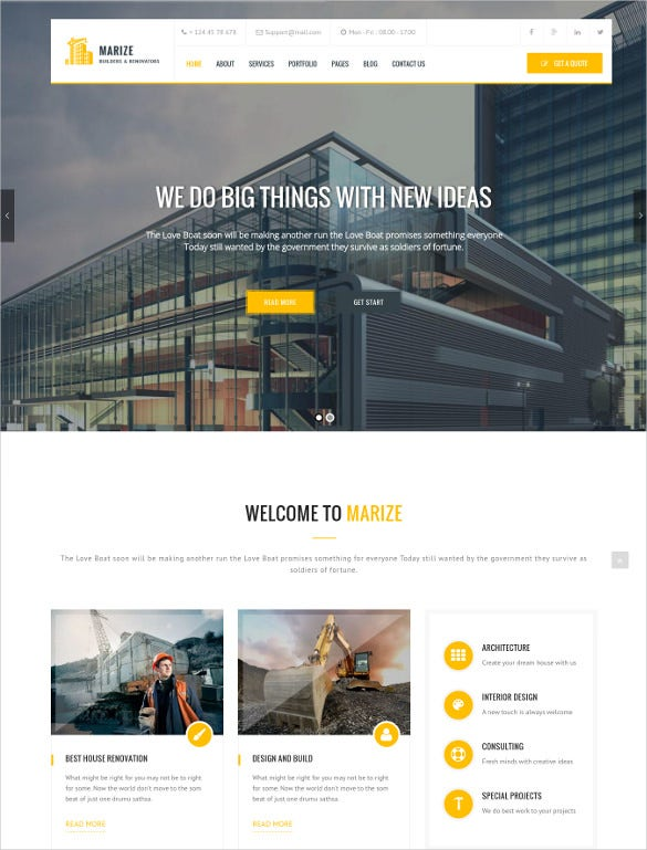 marize construction building wordpress html5 theme