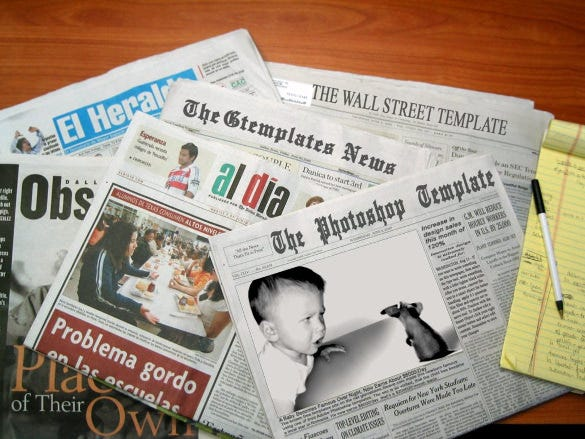 sample of newspaper headline template download