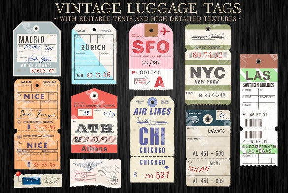 vector customizable luggage tags template
