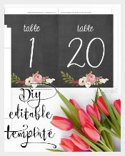 Chalkboard Table Numbers Template
