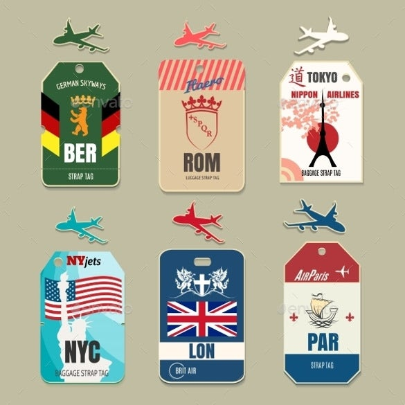 vintage luggage tags psd format