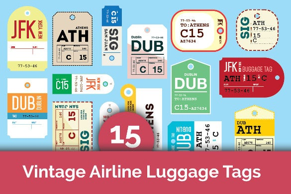 15 vintage airline luggage tags template download