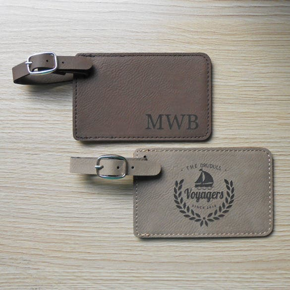 custom luggage tag with engraved monogram