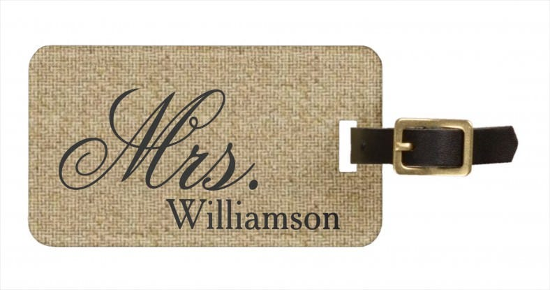 rustic burlap mrs travel luggage tag template 788x415