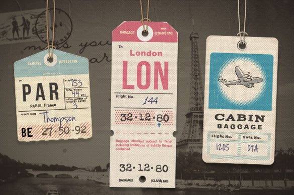 a set of vintage luggage tags