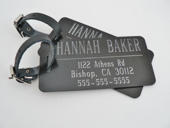 black custom luggage tags template
