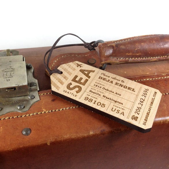 simple wood luggage tag template