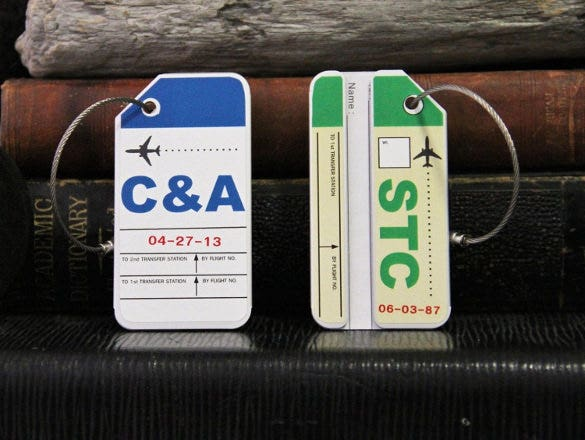 custom aluminium luggage tag