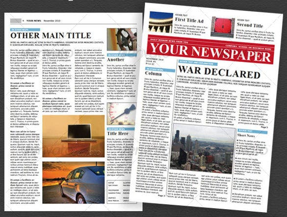 School Newspaper Templates  Free Sample Example Format