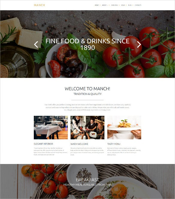 cafe and restaurant responsive moto cms 3 blog template