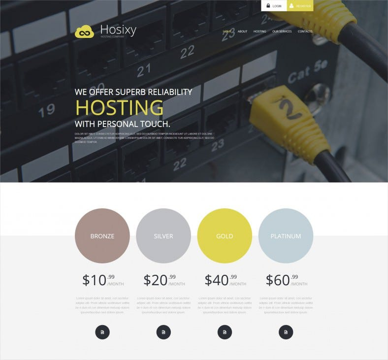 hosting company wordpress html 5 theme 788x731