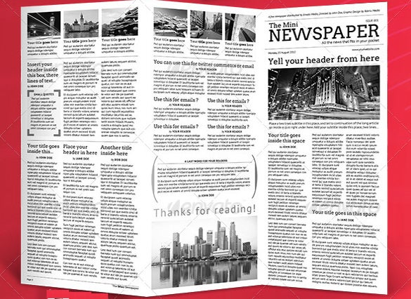 mini school newspaper sample indesign template download
