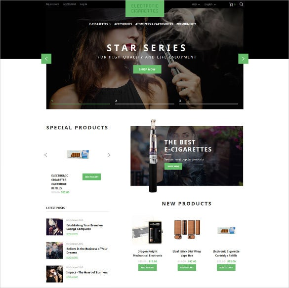 electronic cigarettes magento blog theme
