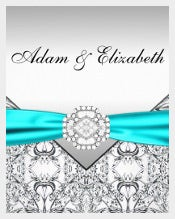 Elegant Silver Teal Blue Wedding Invitation
