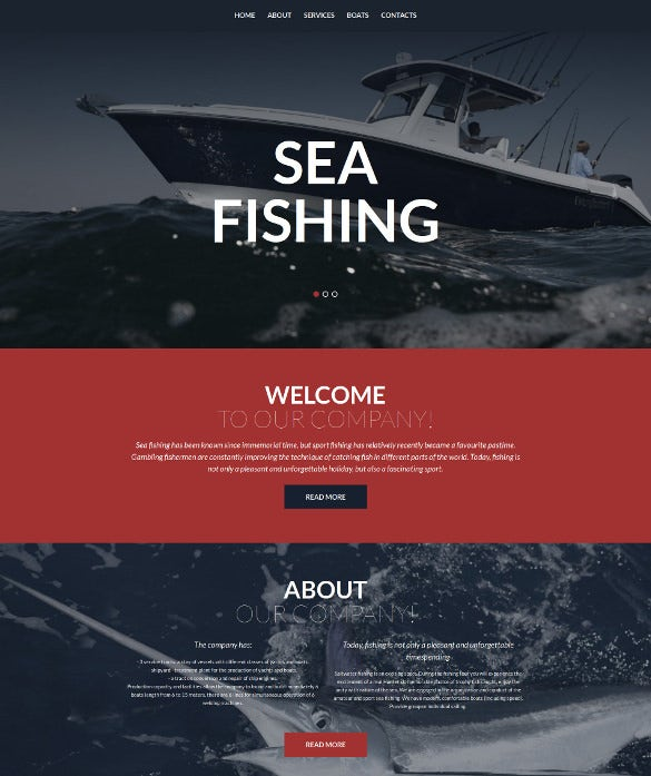 fishing responsive moto cms 3 blog template
