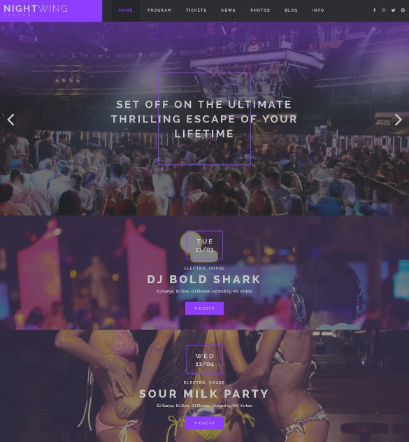 night club responsive moto cms 3 blog template