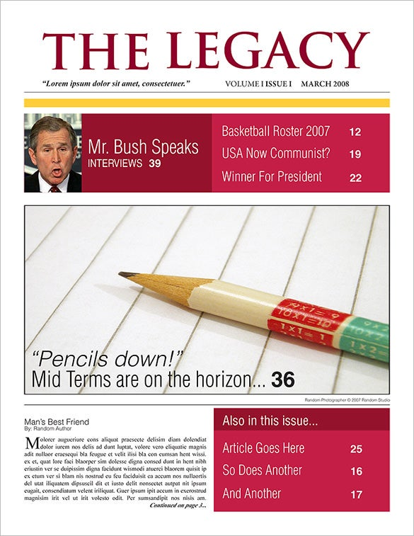 High Quality Printable School Newspaper Example Template Download