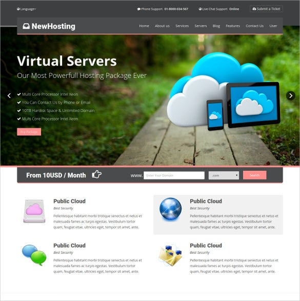 responsive hosting css3 html 5 theme