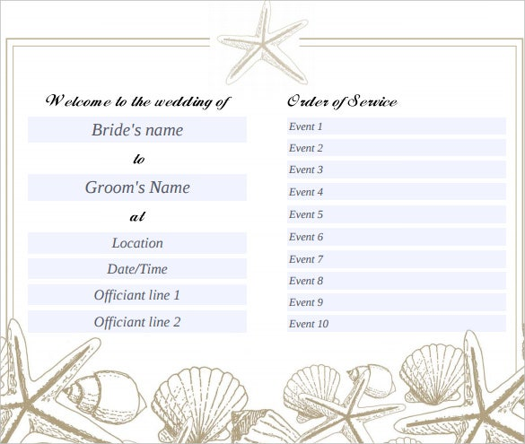 Wedding program template 41 free word pdf psd for Wedding templates free download