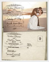 Vintage wedding invitation and RSVP