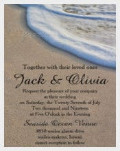 Beach Wedding Invitation in sand