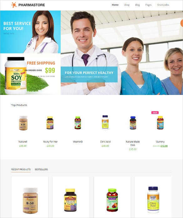 dw pharmastore woocommerce blog theme