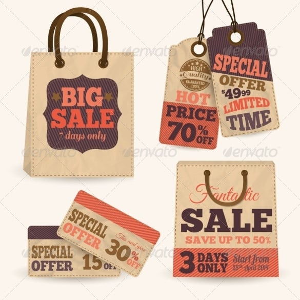 price tags with shopping bags design