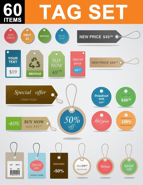editable graphic design price tags
