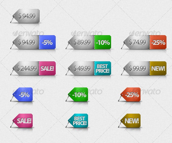 cool price tags with 6 colours