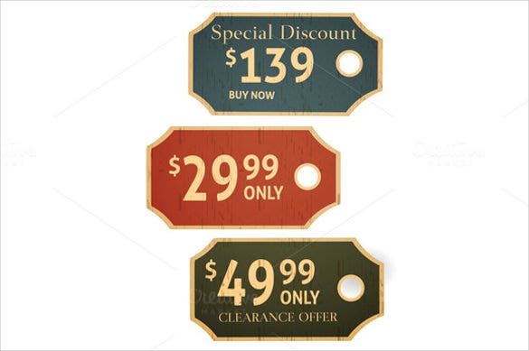 old retro vintage grunge price tags