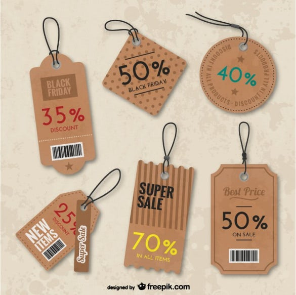 set of price tags template download