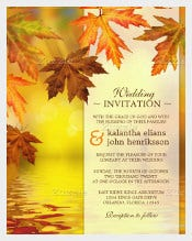 Fall Wedding Invitaion with Fall Leaves