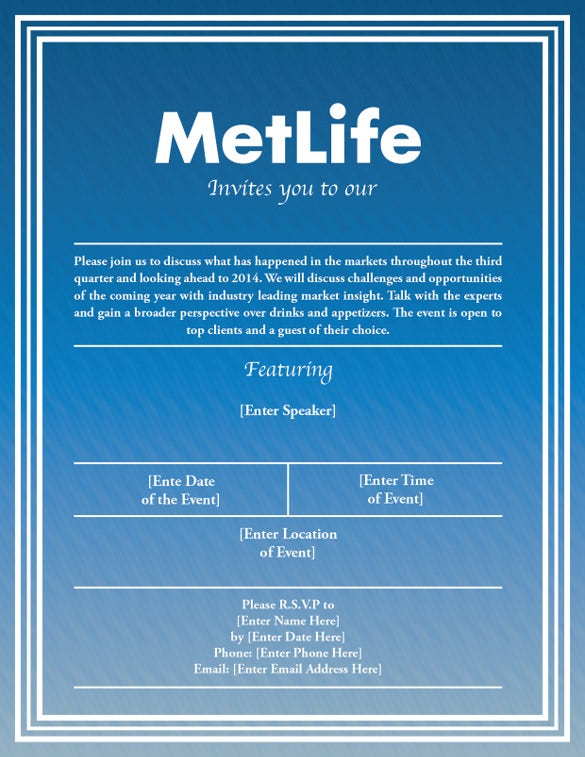 Blue MetLife Seminar Invitation