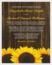 Sunflowers Barn Wood Country Wedding Invitation