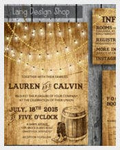 Country Wedding Invitation with Lights and Cowboy Boots
