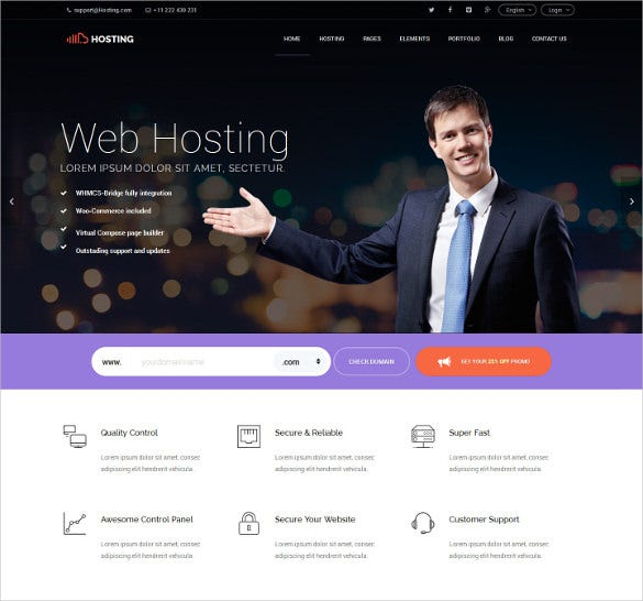 bootstrap responsive html5 hosting template