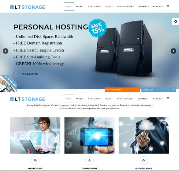 personal hosting joomla bootstrap template