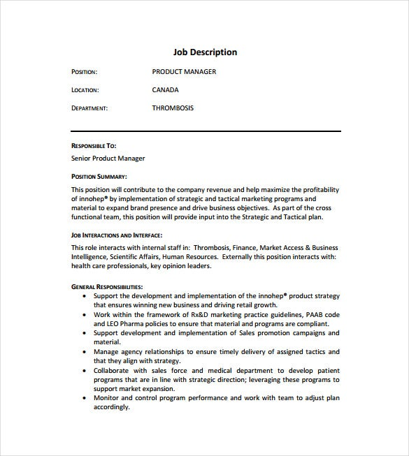 Product Manager Job Description Templates  Free Sample Example